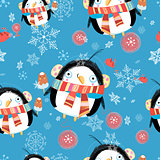 New year greeting card with penguin pattern