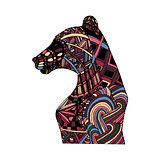 Hand draw multicolor bear painted colors and patterns  zentangle