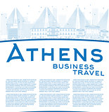 Outline Athens Skyline with Blue Buildings and copy space