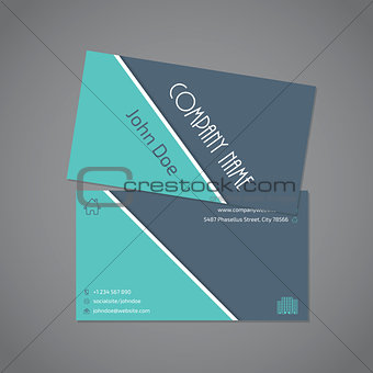 Gray turquoise business card template