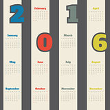 Cool calendar with colorful numbers for 2016