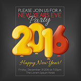Invitation to New Year party with balloons