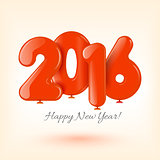 Happy New Year and card with red balloons