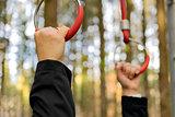 hands on outdoor fitness machine