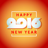 Text design of happy new year 2016