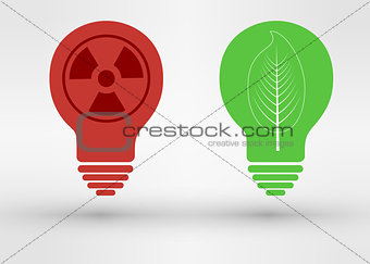 green tree growing in a bulb, go green concept