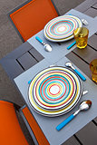 Table set up on a terrace