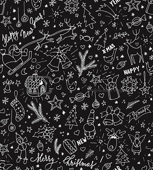Sketchy doodle winter Christmas and New Year pattern, blackboard