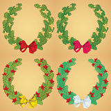Christmas pine garland decorated with red and golden stars. Vector