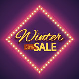 Winter sale with purple lights vintage frame