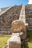 Ancient Mayan pyramid detail, Kukulcan Temple at Chichen Itza, Yucatan, Mexico