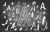 Letters A on blackboard