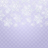 Christmas Background with White Shiny Snowflakes