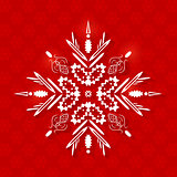 White Paper Snowflake on Christmas Background