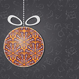 Merry Christmas Greeting Card with Glass Ornament