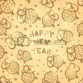 2015 New Year Card with Glowing Sheep