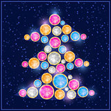 Colorful Gem Stone Christmas Tree Card