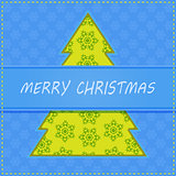 Cut Paper Christma Tree on Holiday Greeting Card