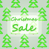 Christmas Sales Sign with Green New Year Trees