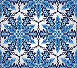 Vector Seamless Pattern with Blue Snowflakes