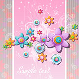 Abstract background with flowers and buttons