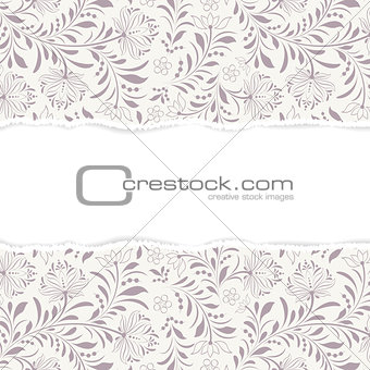 floral  pattern with torn paper
