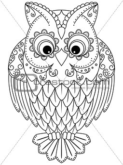 Abstract outline of big owl