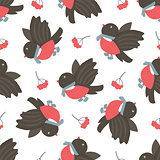 Bullfinches and rowan. Winter seamless pattern.