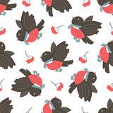 Bullfinches and rowan. Winter seamless pattern.