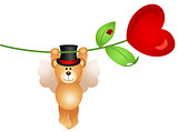Teddy bear flying with heart flower