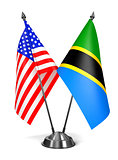 USA and Tanzania - Miniature Flags.