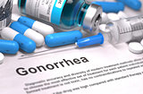 Gonorrhea Diagnosis. Medical Concept. Composition of Medicaments.