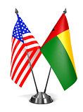 USA and Guinea-Bissau - Miniature Flags.