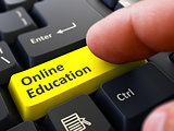 Online Education - Written on Yellow Keyboard Key.