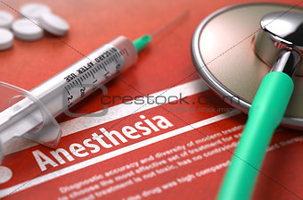 Anesthesia - Medical Concept on Orange Background.