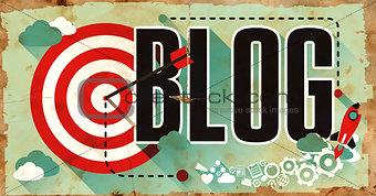 Blog on Grunge Poster in Flat Design.