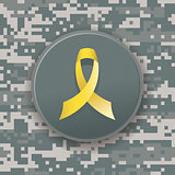 Yellow Military Ribbon on Digital Camouflage