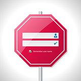 Stop sign inspired login screen