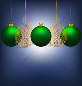 Christmas balls on blue