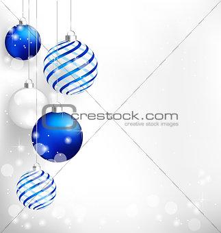 Blue Christmas balls on white