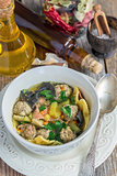 Dietary soup with pasta and meatballs turkey.