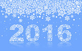 2016 background of snowflakes. Number text of symbol year 2016