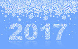 2017 background of snowflakes. Number text of symbol year 2017