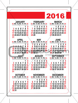 2016 pocket calendar. Template grid. First day Sunday