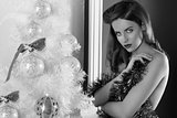 sexy christmas brunette. BW image