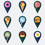 Set of colorful markers for map with food flat icons.