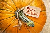 happy shopping tag on pumpkin