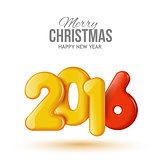 Happy New Year and Merry Christmas. Volume realistic balloons