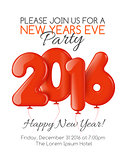Invitation to New Year party with red balloons