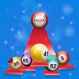 Christmas bingo balls over 3D stripes on blue background